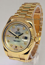 Rolex Day-Date II 18k Yellow Gold Mens Watch MOP Diamond Dial V 218238