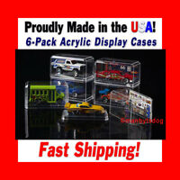 NEW 6-Pack 1:64 SCALE CRYSTAL CLEAR ACRYLIC DISPLAY CASES MATCHBOX HOT WHEELS