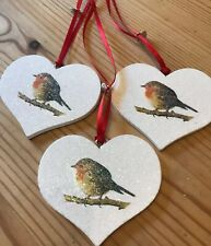 3 X Robin Christmas Hanging Decorations Country Shabby Chic Farmhouse Robin