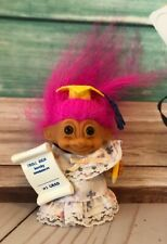 "Russ Graduation #1 Grad 3"" Troll Doll - Original Sticker - Pink Hair - 1990's"
