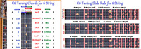 C6 CHORD & SLIDE RULE CHARTS FOR 6 SIX STRING LAP STEEL GUITAR - 2 LAMINATIONS