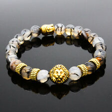 Men's Natural Stone Gold Lion Buddha Beaded Charm Bracelet 8MM Gift for Him USA
