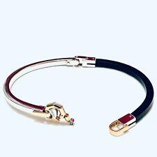 """Mens Bracelet 18K Yellow Gold White Gold Black Rubber Link 8"""" Baraka Italy"""