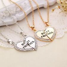 Friendship gift Best Friend Heart Silver Tone Rhinestone 2 Pendants Necklace