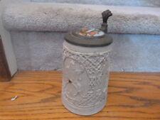 Antique Salt Glazed Stein Gambrinus Handpainted Porcelain Lid Black Man Woman 1L