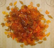LOOSE ACRYLIC-LUCITE BEADS-MIXED LEAF-LEAVES-FALL COLORS-50 BEADS-PLUS FREE GIFT