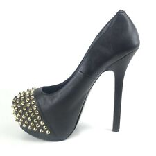 Steve Madden Shoes 7 Black Gold Studded Spiked Platform Pumps Stiletto Heels
