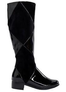 Lunar Patent Mix Long Boots Black Size UK 8 EU 41 BT03 03