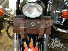 Cross Skull Brown Leather Tool Roll Bag Harley Yamaha Kawasaki Honda Suzuki