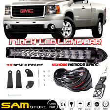 "17"" Front Bumper LED Light Bar Remote + Wiring For GMC Sierra 1500 2500/3500HD"