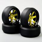 4PCS 1:10 RC Car Drift 3 Degree Tyre Tires Golden Spoke Wheel Rim For HPI  D6NKG