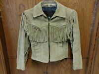 Branded Garments Beige Suede Fringe Women's Short Moto Jacket Size 8