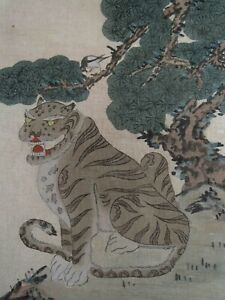 Korean Minhwa of Tiger w/ Magpie perch on Tree Ink & Watercolor on silk ca.19thC