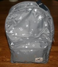 Hollister Women's Backpack Gray w silver stars &logo patch book bag laptop tote