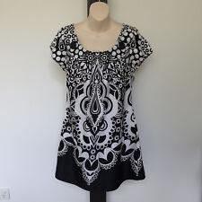 'DOTTI' EC SIZE '12' BLACK & WHITE LINED DRESS WITH ELASTIC EDGE CAP SLEEVES