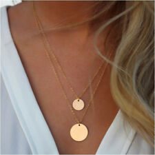 WomenCelebrity Silver Karma Circle Round Coin Pendant Multi Layer Chain Necklace
