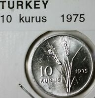 1975 Turkey 10 Kurus Aluminum Wheat Moon BU Coin