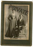 Antique Matted Photo, Des Moines, Iowa-Uncle Charlie, Aunt Christine - Man & Lad