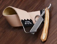 Straight Cut Throat Razor+7cm Wide Leather Strop Honing Sharpening Belt Brush