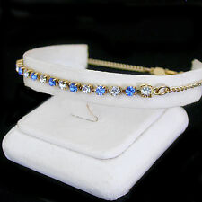 "14K GOLD GL Sapphire BLUE 3mm AUSTRIAN CRYSTAL 10"" Ladies Anklet 