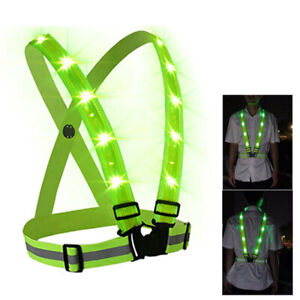 New Lamp Up Green LED Vest Safety Night Running Cycle Glow Strap Vest illuminate