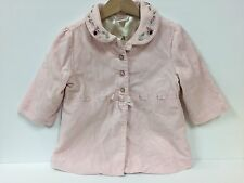 GYMBOREE Sweet Pink Velour Flower Detail Lined Button Coat Size 12-18 M Jacket