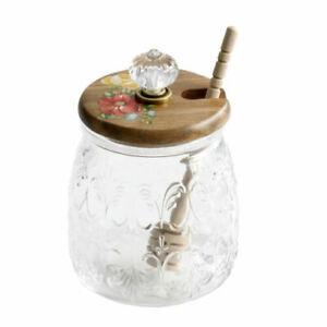 The Pioneer Woman Vintage Floral Honey Jar with Lid and Wood Dipper