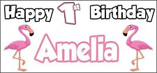 Flamingo 1st Birthday Banner x 2 Party Decorations Girls Boys Daughter ANY NAME