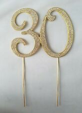 30 Gold Rhinestone Birthday Anniversary Party Supply Cake Topper Decoration
