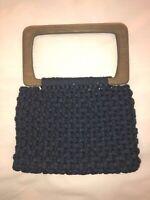 VINTAGE 60'S-70'S BOHO HIPPIE WOOD HANDLE& BLUE MACRAME CROCHET CLUTCH PURSE BAG