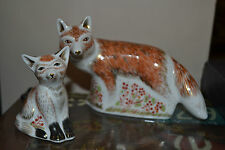 "Royal Crown Derby FERMACARTE ""MADRE FOX & Cub"" offerta speciale di qualità 1st"