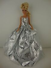 The 2014 Christmas Gown in Silver with Snowflakes Made to Fit Barbie Doll