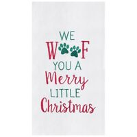 "Woof You Merry Christmas Dog Paw Print Green 27x18"" Flour Sack Kitchen Towel"