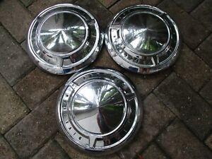 1961-1966 Pontiac Motor Division Dog Dish Hubcaps Set of 3 OEM