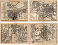 Four 1884 Antique Baedeker City Plans / Maps - Germany Travels Decor