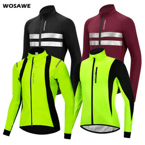 WOSAWE Windproof Cycling Jacket Mens Winter Warm Thermal Fleece Coat Bike Sports
