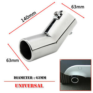 Universal 63MM Auto Stainless Car Rear Round Exhaust Pipe Tail Muffler Tip Cover