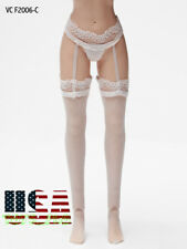 """1/6 Lace Garter Stockings With Briefs WHITE For 12"""" PHICEN Female Figure ❶USA❶"""