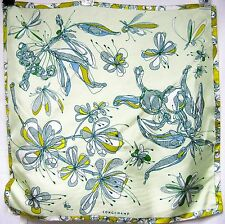 ITALY LONGCHAMP SETA Silk 19x19 Women Scarf Floral Butterfly Dragonfly Lady Gift