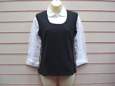 LADIES TANK TOP ALL IN ONE BLACK WHITE SIZE 15-16 YRS SCHOOLWEAR TWIN PACK