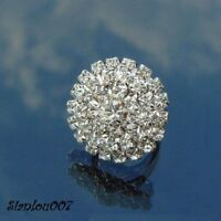 Diamonte / Diamante Silver Tone Large Round Shape Ring - NEW!!