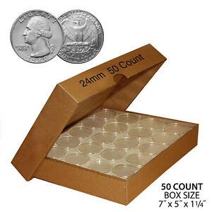 50 QUARTER Direct-Fit Airtight 24mm Coin Capsule Holder QUARTERS QTY: 50 w/ BOX