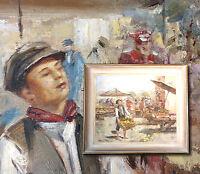 Sizilianischer Markt. FRANCO RISPOLI (*1921) Orig. Ölgemälde Italien Marktszene