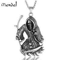 MENDEL Mens Gothic Death Skull Grim Reaper Necklace Pendant Stainless Steel Men