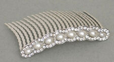 Large Pearl Beads and Crystal stone on a comb - Bridal hair slide