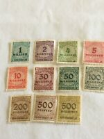 Lot of 11  1923 Germany Overprinted Stamps Townsend and Millionen Mark - new