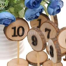 Rustic 1-10 Wooden Table Numbers Log Slices Stick Stand Wedding Party Decor