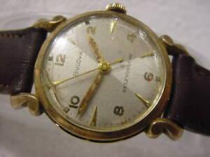 Vintage GOLD FD antique Art Deco BULOVA HOURGLASS DIAL KNOT-LUG AUTOMATIC watch