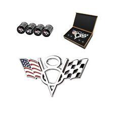 Dsycar 3D Metal V8 Engine Displacement Logo US Racing Flag Car Emblem Badge S...