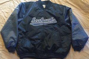 Authentic Reebok Reversible Seattle Seahawks NFL Satin Jacket SZ XL NWOT'S Mint